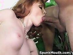 Flawless stripper Marie McCray sucks cock then gets Jizz on her Glasses