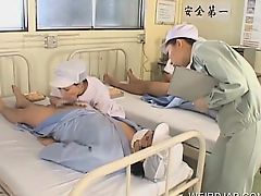 Sexy Japanese nurses giving BJs to horny patients