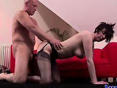 British mature in stockings loves rough sex