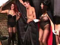 CFNM femdom magician gives hj show