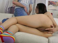 Sweet brunette Rebeca Taylor displays her nice pussy and fingers