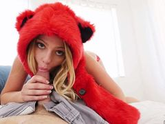 Blonde haired cute chick Lilly Sapphire dressed in red gets