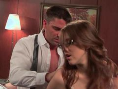 Sweet four-eyed secretary Nickey Huntsman with small natural tits has