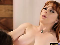 Penny Pax and Carmen Caliente lesbian sex on massage table