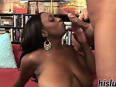Huge black tits get sprayed with cum