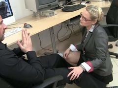 Blonde haired MILF with glasses Barra Brass gets down on