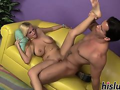 Busty young slut rides a big cock