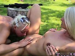 Blonde ballet Naked dolls with guns