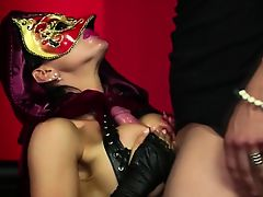 Masked bitch deepthroating cock
