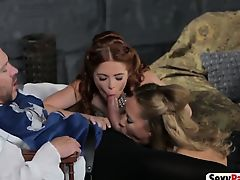 Two stunning medieval babes blowing huge schlong