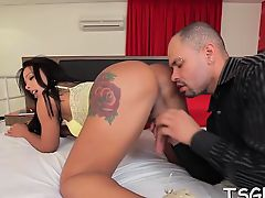 Huge pecker rams mouth and rectal hole of a hot shemale