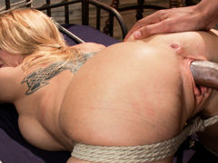 Crazy big tits, blonde adult scene with incredible pornstar Mickey Mod from Dungeonsex