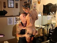 Heavily tattooed pornstar Kleio Valentien shows every inch of her