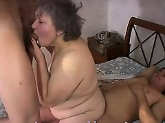 BBW grandma group sex with young boys