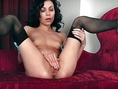 Skinny brunette Lily with small tits and firm ass shows