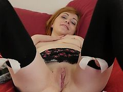 Stockinged Alana Masturbating Her Quim