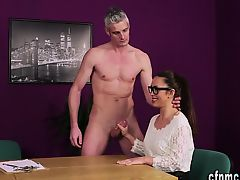 Brit mistress sucks dork