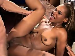 Ebony cutie spreads her legs for a big stick and a rough anal drilling