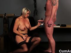 Horny model gets cumshot on her face sucking all the love ju