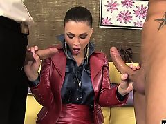 Aletta Ocean sucks two cocks