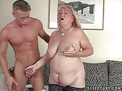 Pale fake mature blonde blonde whore with hanging tits and
