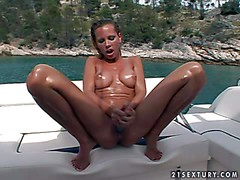Turned on smoking hot tanned blonde Sandy with firm medium
