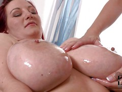 Carol and Vanessa are curvy and busty. Huge titted chubby