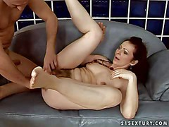 Mature black haired whore with milky skin and hanging tits