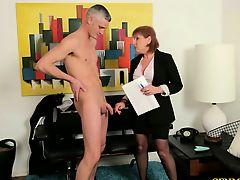 CFNM femdom mature makes dude strip
