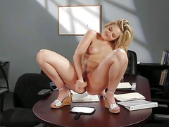 Young looking naughty blonde secretary Alexis Texas with natural boobs
