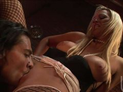 Big racked lovely blonde Abbey Brooks in fishnet stockings gets