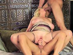 Mature Blonde Dalia Takes Two Hot Studs