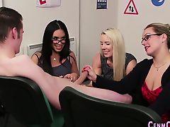 Kinky dominas tug cock