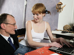 TrickyOldTeacher - Sassy redhead gives blowjob and fucks teacher for improved grades