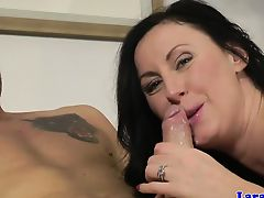 Sensual lingerie MILF cockriding younger guy