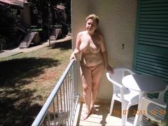 Mature on the balcony
